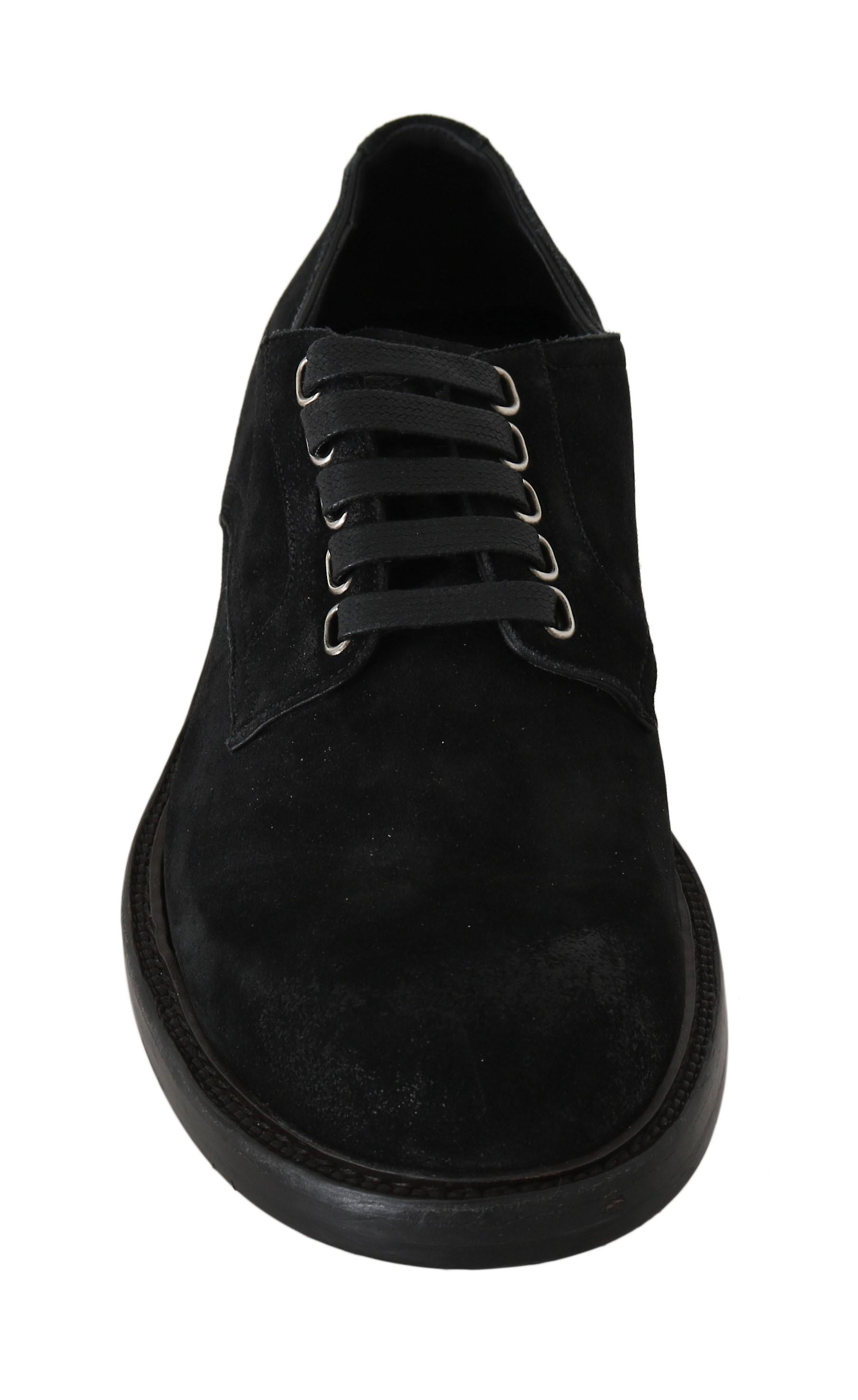 Black Leather Derby Formal Suede Shoes