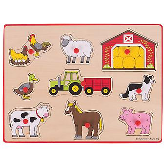 Bigjigs Toys Wooden Chunky Lift Out Jigsaw Puzzle (Farm) Educational Learn