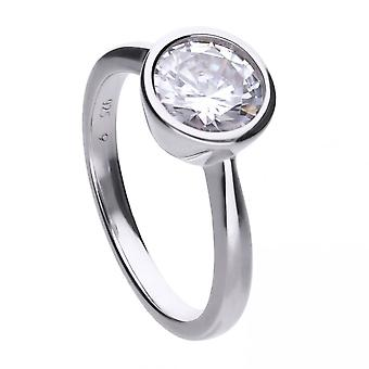 Diamonfire Silver White Zirconia Solitaire Ring R3648