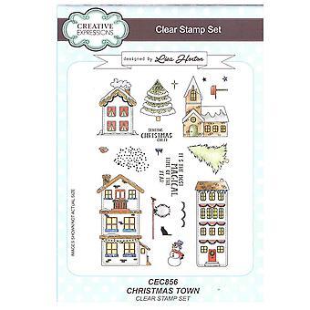 Creatieve uitingen duidelijk Stamp ingesteld door Lisa Horton - Kerstmis stad