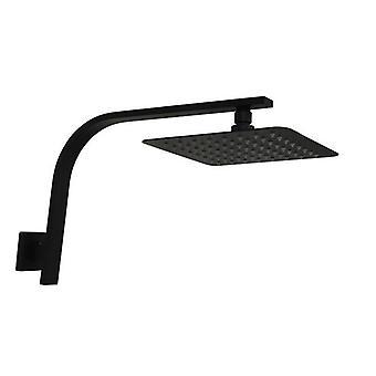 200 Mm 8 Inch Slim Black Rainfall Shower Head Wall Goose Neck Arm Set