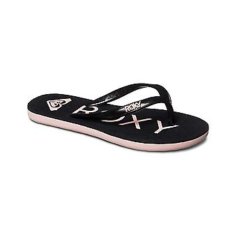 Roxy Sandy Flip Flops in Black