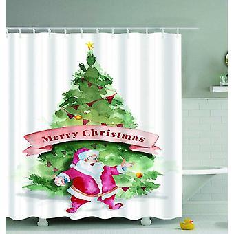 Santa Merry Christmas Art Painting Shower Curtain