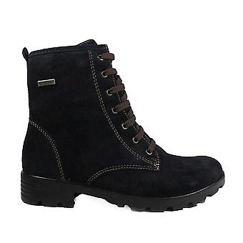 Ricosta Disera 7220200-172 Navy Suede Leather Girls Lace Up Ankle Boots