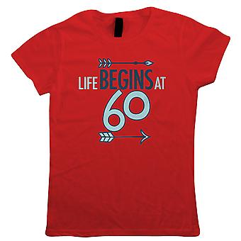 Life Begins At 60, Womens T-Shirt - Birthday Gift Her Mum