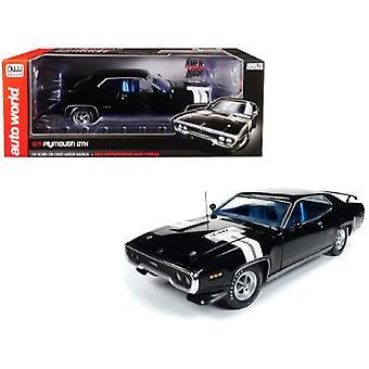 1971 Plymouth GTX Hardtop Black Velvet con White Stripes Limited Edition a 1.002 pezzi in tutto il mondo 1/18 Diecast Model Car di Autoworld