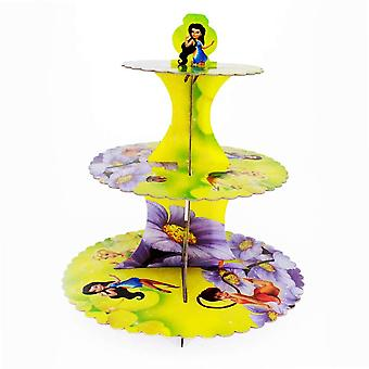 Tinknkerbell Silvermist Fairy Thème Foldable Cardboard 3-Tier Cupcake Stand
