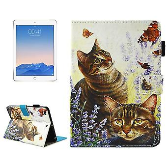 Para iPad 2018,2017 Funda de cartera, Gatos mariposas Smart Durable cuero cubierta