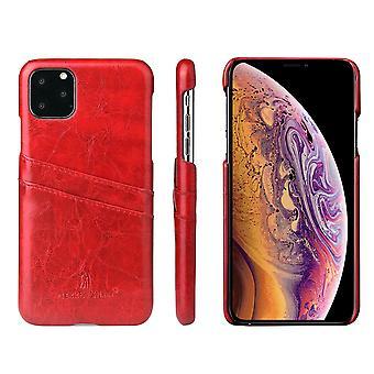 For iPhone 11 Pro Case Deluxe skinn lommebok tilbake slank beskyttende deksel rød
