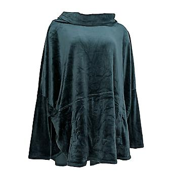 Anybody Women's Plus Top Velour Oversized Cowl Pullover Green A345454