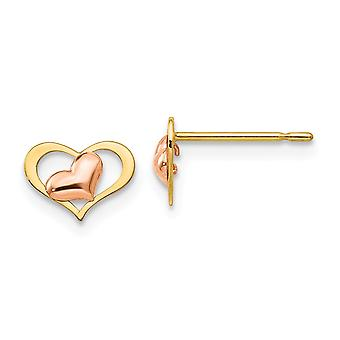 14k Madi K Yellow and Rose Gold Polished for boys or girls Love Heart Post Earrings Measures 6x8mm Wide