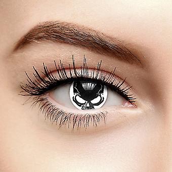 Lentes de contato cor de caveira branca/preta (90 dias)