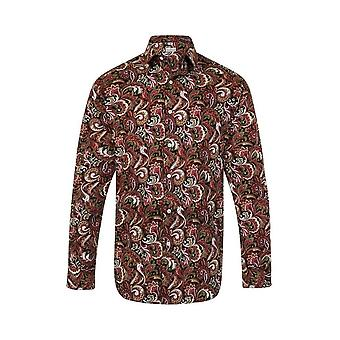 JSS Paisley Green & Red Regular Fit 100% Cotton Shirt