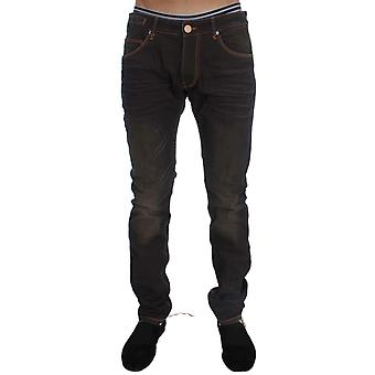 Acht Brown Wash Cotton Stretch Slim Fit Jeans