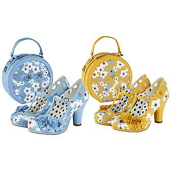 Ruby Shoo Naiset's Valerie Kukka T-Bar Platform Shoe & Matching Alberta Bag