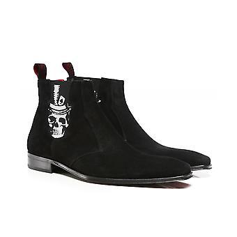 Jeffery-West Suede Scarface Skull Chelsea Boots