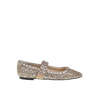 Jimmy Choo Minetteflatwiagold Women's Gold Glitter Flats