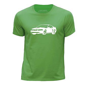 STUFF4 Guttens rund hals T-skjorte/sjablong bil kunst / 03 Mustang/grønn