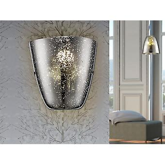 Schuller Quasar - Wall lamp made of metal. Blown glass shade in chrome colour with clear spotted decoration. - 436631