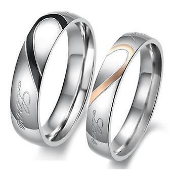 Cuore forma titanio acciaio inox promessa anello coppia Wedding Band di Boolavard® TM amante con cuore inciso e