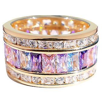 اه! المجوهرات عالية الأزياء متعددة الألوان 18K الذهب الحقيقي شغل خاتم واسع 12mm.