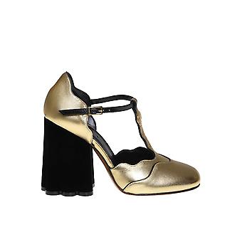 Marni Mjms002910la598zl554 Women's Gold Leather Pumps
