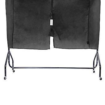 Black 120cm 4ft Protective Cover Rail Coat Garment Clothes Hanger Storage