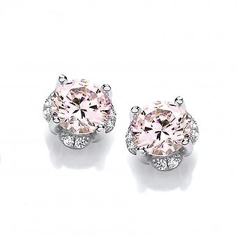 Cavendish French In the Pink Diamond CZ Solitaire Earrings