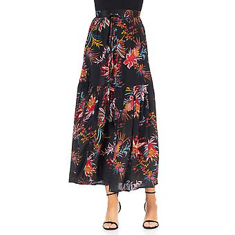 Long skirt with flower print with aesthetic waist