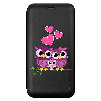 Case voor Samsung Galaxy A51 Black Family Pattern Owl