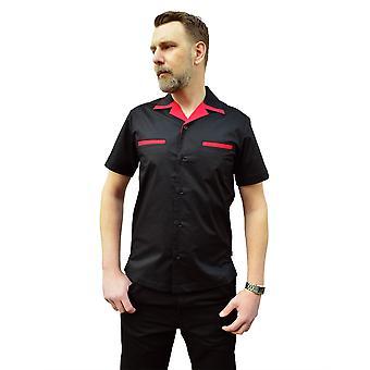 Chet Rock Red & Black Donnie Bowling Shirt L