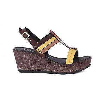 CafeNoir Sandalo Con Zeppa HH140MARRONE universal summer women shoes