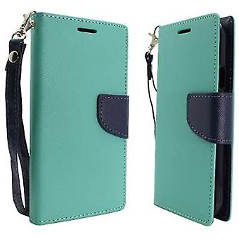 Aimo Deluxe Flip Leather Case for Samsung Galaxy S5 - Light Green/Dark Blue