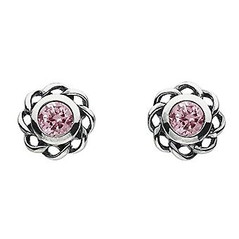 Heritage 3234OCT Stud earrings - with pink crystal - in Sterling silver