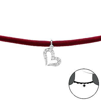 Heart - 925 Sterling Silver + Velvet Chokers - W34727x