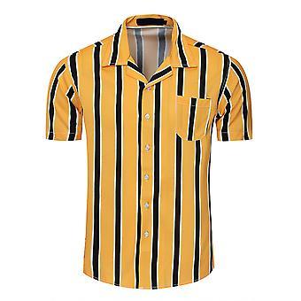 Allthemen Men's Klapa Color-Block Striped Fashion Luźna koszula z krótkim rękawem