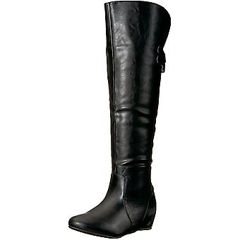 Brinley Co Women's Wing Over The Knee Boot, Black, 8.5 Wide/Wide Shaft US
