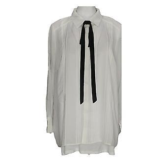 BROOKE SHIELDS Timeless Women's Plus Top Woven W/ Tie Detail White A342010