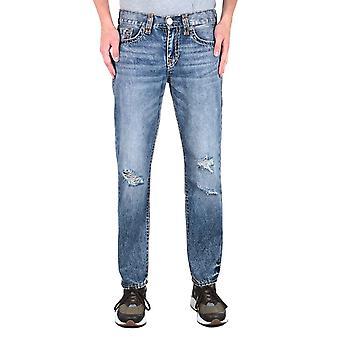 True Religion Geno Super T Distressed Blue Wash Slim Fit Jeans