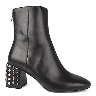 Ash Footwear Hyde Black Leather Studded Heeled Boot