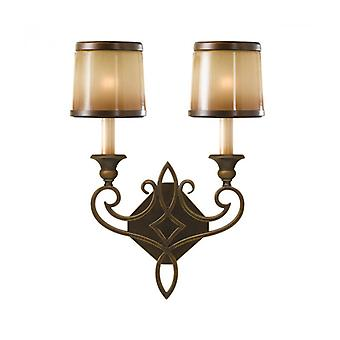 Justine Wall Lamp, Bronze And Glass, 2 Bulbs