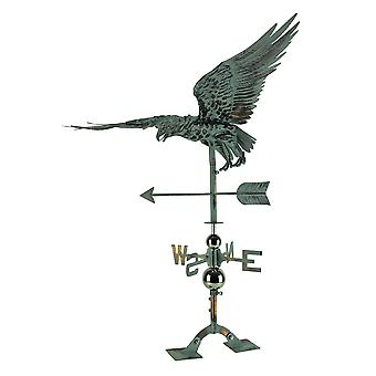 Verdigris Patina Metal Flying Eagle Weather Vane with Roof Mount