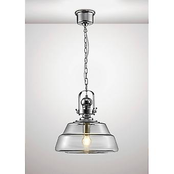 Reyna Single Large 1-light E27 PolisHed Chrome / Clear Glass Pendentif Light