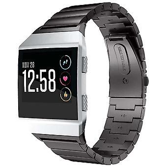 Horloge armband gemaakt door strapsco voor fitbit ionische roestvrij staal zwart