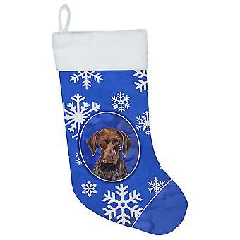 Tysk Shorthaired Pointer vinter snefnug Christmas strømpe SC9395