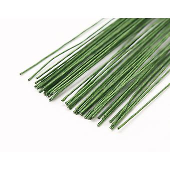 12 Light Green 0.5mm Tape Covered Floristry Stub Wires - 50cm Long