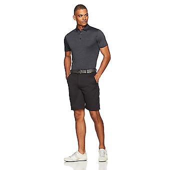 Essentials Men's Tech Stretch Polo Shirt, Black Heather, Medium