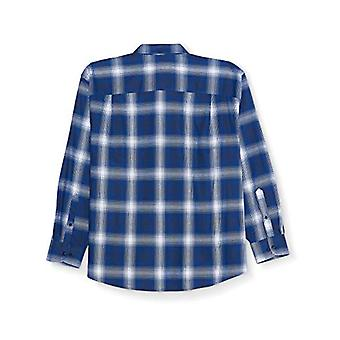 Essentials Men's Groß & Groß langärmelig kariertes Flanell Shirt, blau Ombr...