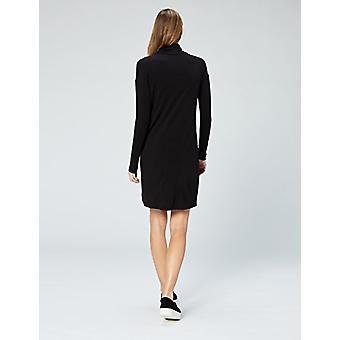 Marca - Daily Ritual Women's Long-Sleeve Turtleneck Dress, Preto, Small