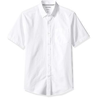 Essentials Men's Slim-Fit Short-Sleeve Pocket Oxford, White, Size Large